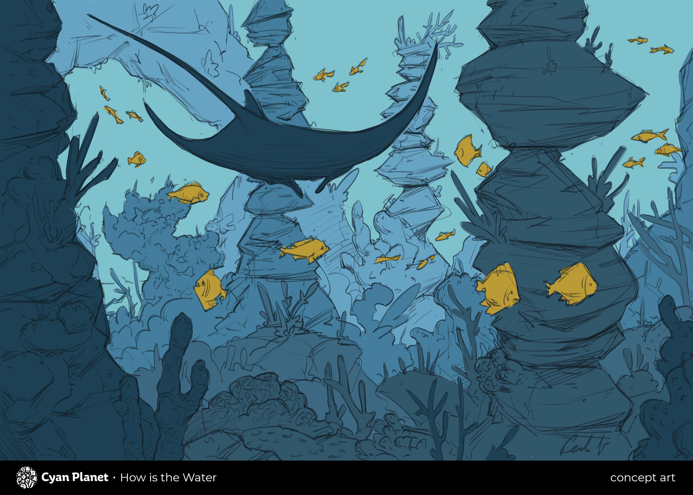 Manta Ray and Reef Concept Art